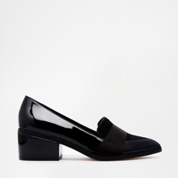 ASOS SAY GOODBYE Leather Mix Loafer Heels at asos.com