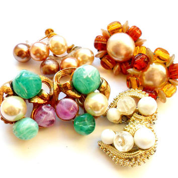 Beaded Clip On Earring Lot Vintage Instant Collection Cluster Faux Pearl Plastic Art Glass Japan Coro Plastic Screw Back Gold Silver Signed