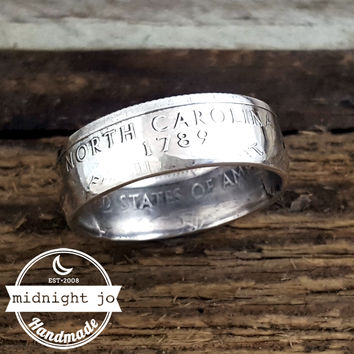 North Carolina 90% Silver State Quarter Coin Ring