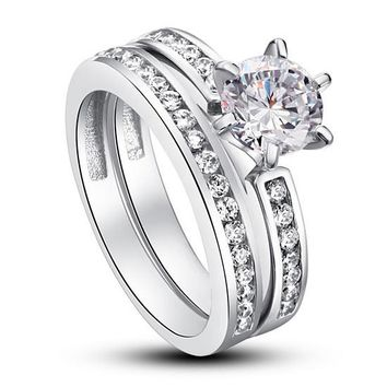 1 Carat Round Cut Created Diamond 925 Sterling Silver 2-Pc Wedding Engagement Ring Set