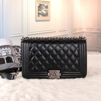 Chanel Women All-match Fashion Simple Quilted Metal Chain Single Shoulder Messenger Bag