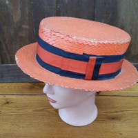 Vintage Painted Straw Boat Hat with Navy and Orange Striped Grosgrain Ribbon Straw Panama Hat