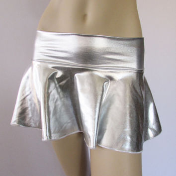 "Silver Metallic Spandex Skater Skirt Flare 12"" ultra MINI"