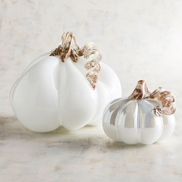White Art Glass Pumpkins