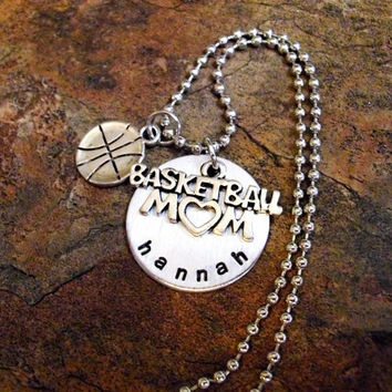 Personalized Jewelry, Basketball Mom Necklace, Sports Jewelry, Hand Stamped Jewelry