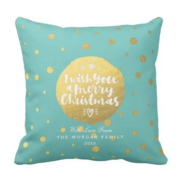 Light Teal Gold Polka Dots Merry Christmas Script Throw Pillow