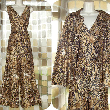 Vintage 70s Palazzo Jumpsuit | 1970s Jumpsuit & Jacket | TIGER PRINT | Sexy Wide Leg Pants Suit | Size Large XL
