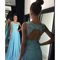 Long Prom Dresses 2016 Scoop Sleeveless Backless Sweep Train Chiffon Crystal Formal Dress Long Party Gown Vestido De Renda