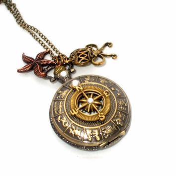 Zodiac Compass Pocket Watch Necklace, with Nautical Charms, Octopus, Starfish, Antique Bronze, Quartz, Steampunk Jewelry