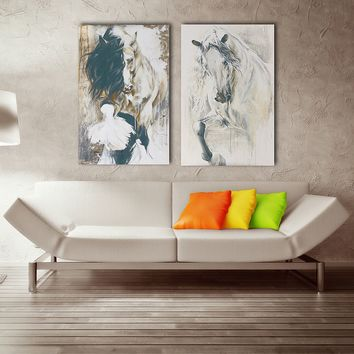 2Pcs Abstract Modern Horse Art Canvas Print Oil Painting Wall Picture Home Decor