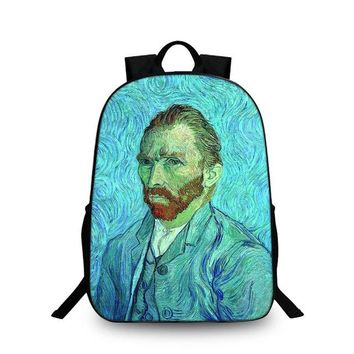 Cool Backpack school Fashion Special pattern Design Cute Creative Oil Painting Mona lisa School Laptop Backpacks Kitty large Cool Travel School Bags AT_52_3