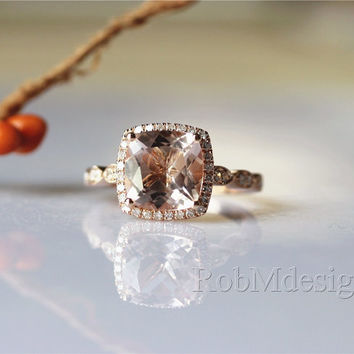 14K Rose Gold Morganite Ring VS Cushion Cut 7mm Morganite Halo Diamond Art Deco Half Eternity Morganite Engagement Ring Anniversary Ring