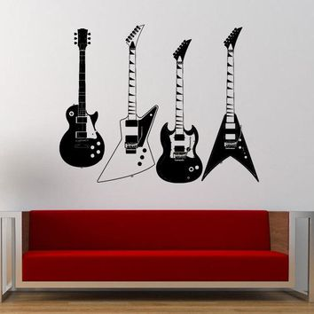 Collection Of Electric Guitars Vinyl Wall Decals.