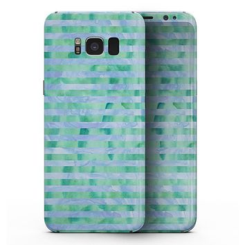 Blue and Green Watercolor Stripes - Samsung Galaxy S8 Full-Body Skin Kit