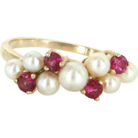 Vintage Cultured Pearl Ruby Stack Band Ring 14 Karat Yellow Gold Estate Jewelry Fine