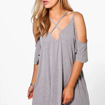 Plus Shay Caged Open Shoulder Swing Dress | Boohoo