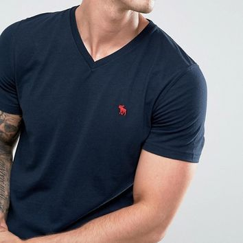Abercrombie & Fitch V Neck T-Shirt Muscle Slim Fit Moose Logo In Washed Black at asos.com