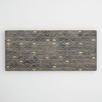Tribal Gold and Graywash Wood Panel Wall Art