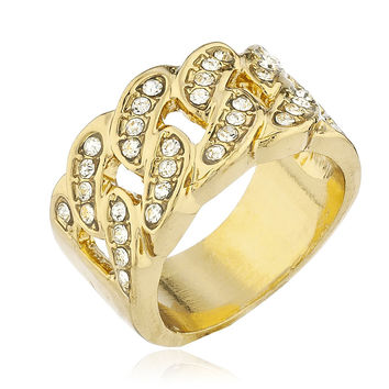 Men's Goldtone Iced Out Ring Cuban Link Design with Stones