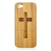 Generic Hand Carved Cross Wood Phone Case For iPhone 5 Color Wood