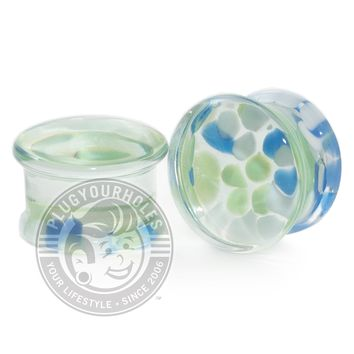 Blue Green White Pebble Pyrex Glass Plugs