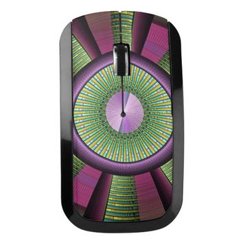 Round And Colorful Modern Decorative Fractal Art Wireless Mouse