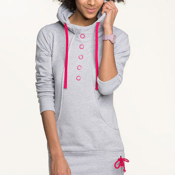 Grey High Neck Hoodie With Pink Drawstrings