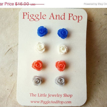Tiny Rose Earrings. Resin Earrings in Cobalt Blue, White, Orange Coral and Grey. Small Stud Earrings. Spring Jewelry. FSE4.