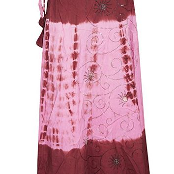 Womens Wrap Skirts Tie-Dye Pink Embroidered Bohemian FALL chic