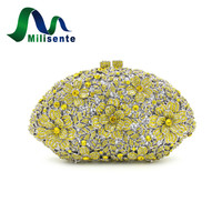 New Lady Fashion Luxury Flower Crystal Evening Bags Party Handbags Wedding Purse For Women Yellow Gold Chain Day Clutches