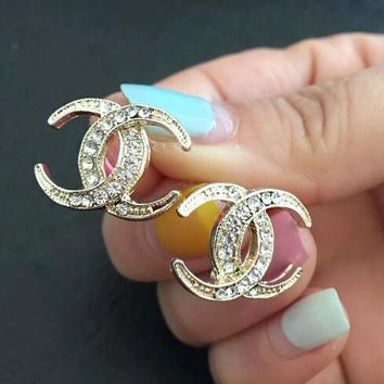 Chanel Summer Stylish Ladies Diamond Crescent Shape Stud Earring Jewelry I12426-2
