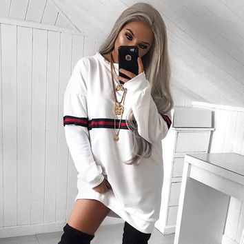 Dress Hot Sale Winter Stylish Long Sleeve Round-neck Women's Fashion Hoodies [362175791133]
