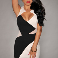 Black & White Splice Sleeveless Cutout Back Front Slip Bodycon Mini Dress