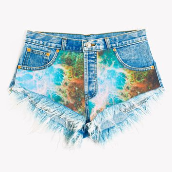 Galaxy Nebula High Waisted Babe Shorts