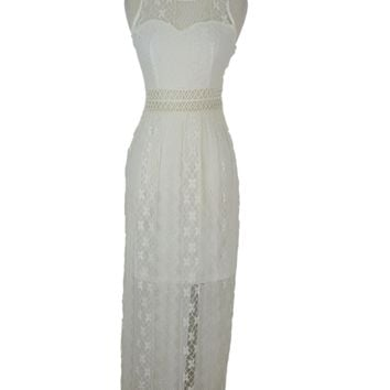 Grifflin Paris White Lace & Crochet Halter Maxi Dress S/M/L NWT