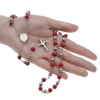 Hot selling Prayer beads 8mm stainless steel beads Rosary necklace High quality Cross Long chain Religious beads with red stone