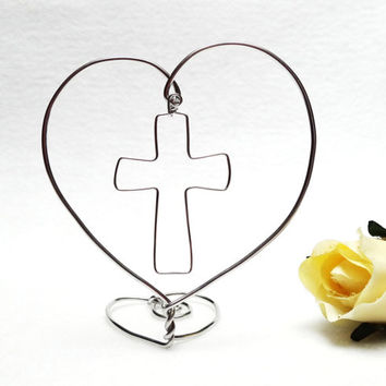 Wedding Cake Topper- Wire Heart With Cross- Silver