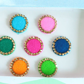 Colorful Wedding Round Bindis Jewels,Round Bindis,Velvet Colorful Bindis,Colorful Face Jewels,Bollywood Bindis,Self Adhesive Stickers