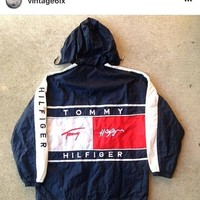 Vintage 90's tommy hilfiger jacket flag yellow colorblock aaliyah