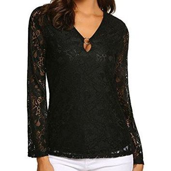 Yayado Womens Sexy Lace Blouse Aline Long Bell Sleeve VNeck Tunic Tops Loose Shirt