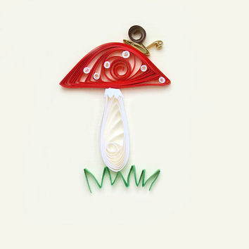 For a Fungi greeting card - humour paper quilling, mushroom
