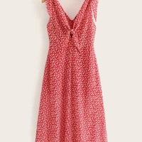 Knot Front Ditsy Floral Dress