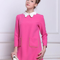Pink Peter Pan Collar Long Sleeve Mini Dress with Pockets
