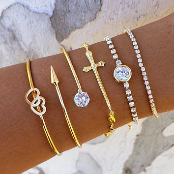 Connected Heart Cross Bracelet Stack