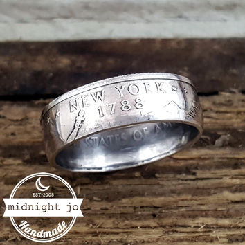 New York 90% Silver State Quarter Coin Ring