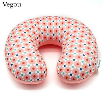 Vegou Brand Microbeads U Shaped Neck Pillow Airplane Travel Pillows Flower Kissen Foam Body Pillow Almohada Travesseiro