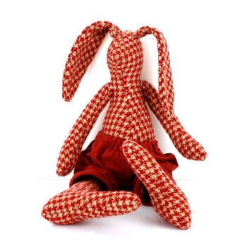 Woodland plush rabbit made from pendleton houndstooth plaid beige burgundy wool ,wearing oxblood corduroy , timohandmade fabric eco doll