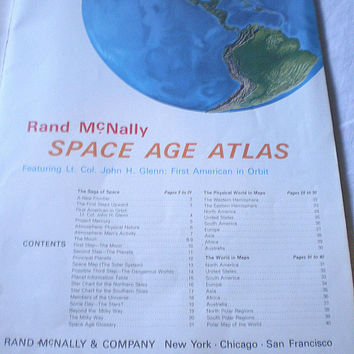 vintage 1962 Rand McNally World Atlas, Space Age Atlas, #4214 John Glenn collectible, Maps, VGC+ RARE