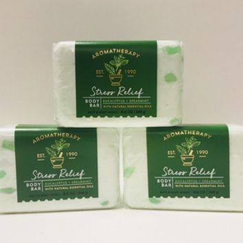 3 PACK Bath & Body Works AROMATHERAPY Stress Relief EUCALYPTUS SPEARMINT Body Bar 8.8 oz