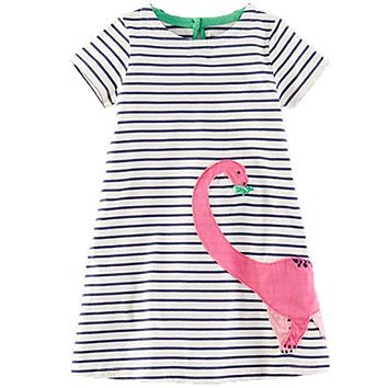 Baby Girl Dress with Animals Applique 2017 Summer Princess Dress Kids Clothes 100% Cotton Children Christmas Dresses for Girls